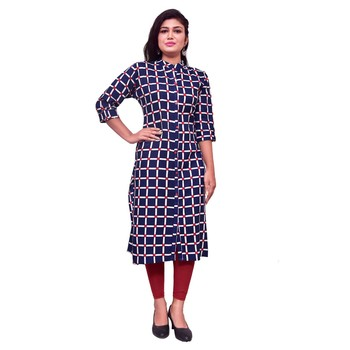 Blue block print cotton kurti