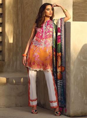FARAZ MANAN Multicolour Lawn embroidered unstitched Pakistani Suit