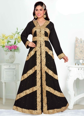 Black embroidered georgette islamic kaftan