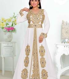 White embroidered georgette islamic kaftan