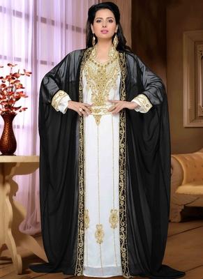 Black embroidered georgette islamic kaftan