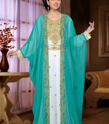 Sea-green embroidered georgette islamic kaftan