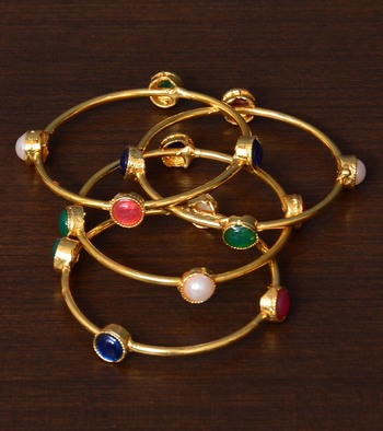 Multi-colored Stone Embellished Two Pairs of Bangles for Women