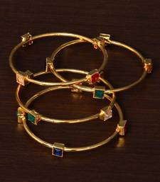 Stone Embellished Two Pairs of Designer Bangles for Women