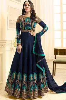 287046648f Blue Silk Semi-Stitched embroidery Anarkali Salwar suit /Gown. Shop Now