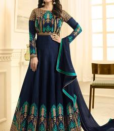 Blue Silk Semi Stitched Embroidery Anarkali Salwar Suit /Gown