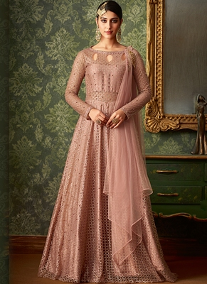 Rose Embroidered Jacquard Salwar Suits