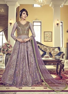 Light-violet embroidered net salwar suits
