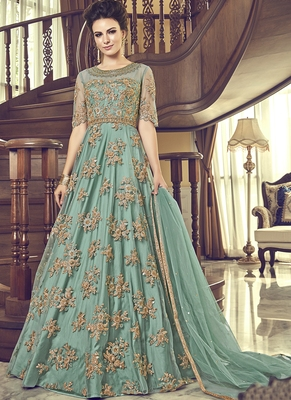 Aqua-blue embroidered net salwar suits