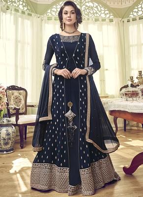 Navy-blue embroidered georgette salwar suits
