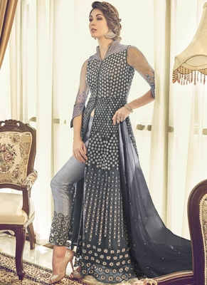 Dark-grey embroidered net salwar suits