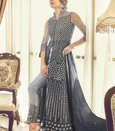 Dark-grey embroidered net salwar suits