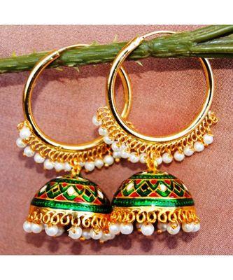 Colorful Green Gold Bali Meenakari Jhumka Earrings