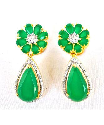 Floral Emerald Dangler Earrings