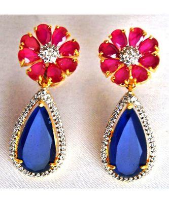 Ruby Sapphire Dangler Earrings