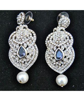 Crystal Dangler Earrings with Pearl Drop