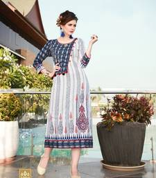 White printed cotton kurtas-and-kurtis