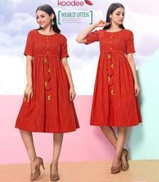 Orange hand woven cotton kurtas-and-kurtis
