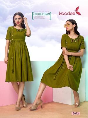 Green hand woven cotton kurtas-and-kurtis