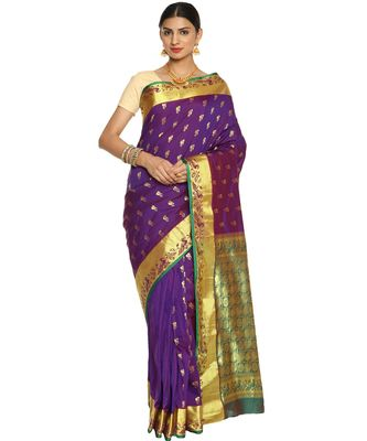 Purple Paithani Art Silk Saree with Blouse