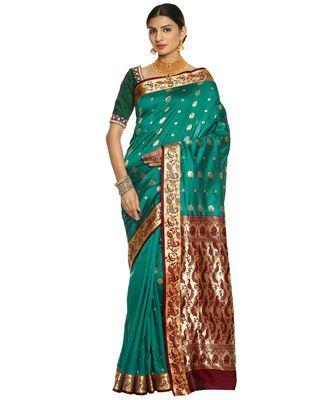 Green Paithani Art Silk Saree with Blouse