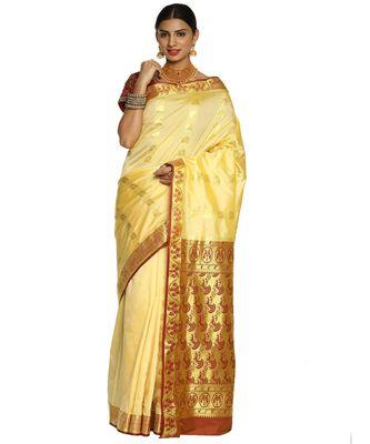 Beige Paithani Art Silk Saree with Blouse