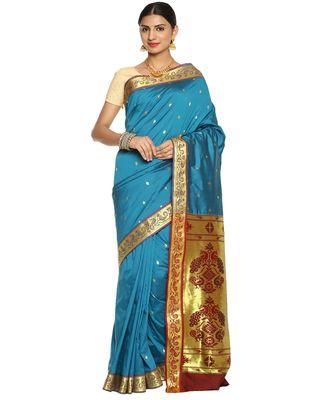 Turquoise Paithani Art Silk Saree with Blouse