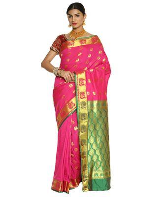 Fuchsia Paithani Art  Silk Saree with Blouse