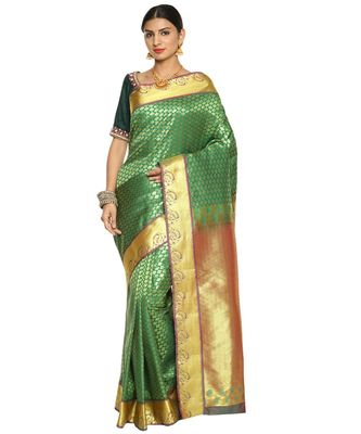 Green Kanjeevaram Art Silk Saree with Blouse
