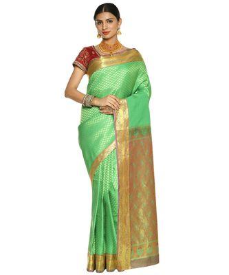 Green Kanjeevaram Art Silk Saree with Blouse