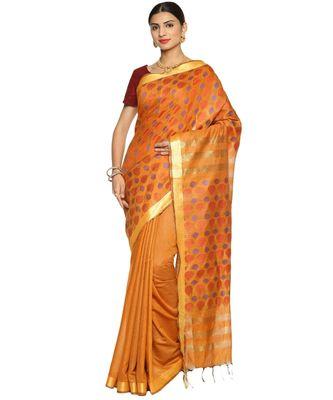 Rust Bhagalpuri Art Silk Saree with Blouse