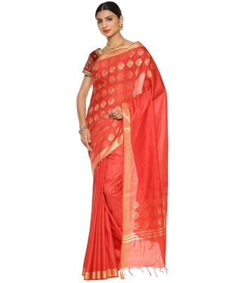 Red Bhagalpuri Art Silk Saree with Blouse