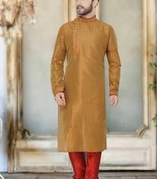 Brown hand woven bhagalpuri kurta pajama