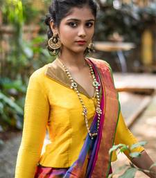 Yellow Readymade Silk Jacket blouse with Gold Brocade Collar