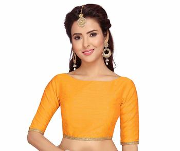 DESIGNER  ZARI DOT  SILK BROCADE READYMADE SAREE BLOUSE WITH ELBOW LENGTH SLEEVES