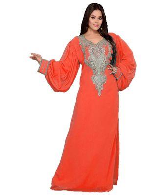 Coral Georgette Embroidered Zari_Work Islamic Kaftan