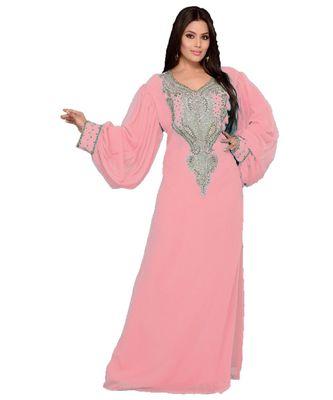 Pink Georgette Embroidered Zari_Work Islamic Kaftan