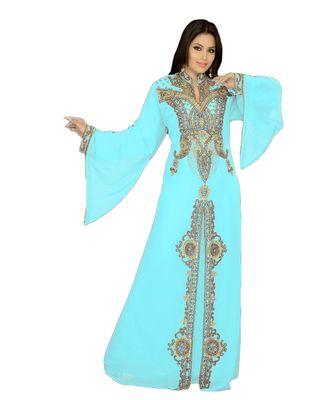 mint georgette embroidered zari_work islamic kaftan