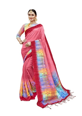 Pink printed khadi saree with blouse