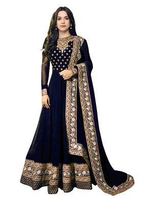 DESIGNER NAVYBLUE ATTRACTIVE LOOKING FAUX GEORGETTE FLOOR TOUCH ANARKALI STYLE GOWN SEMI STITCHED