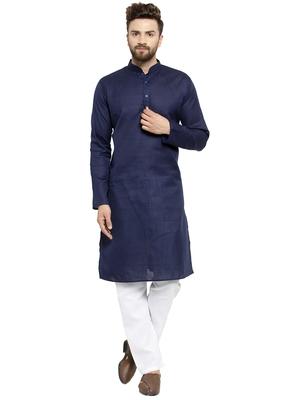 Designer Navy Blue Plain Lenin Kurta Pajama