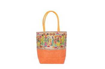 Orange Jute handbags