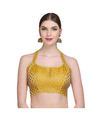 Yellow Embroidered Brocade Readymade Blouse