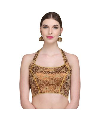 Gold Embroidered Brocade Readymade Blouse