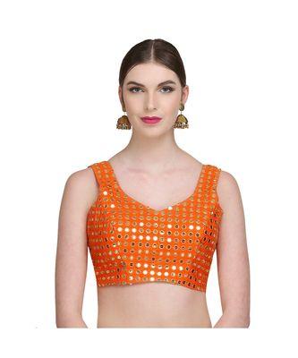 Orange Embroidered Brocade Readymade Blouse
