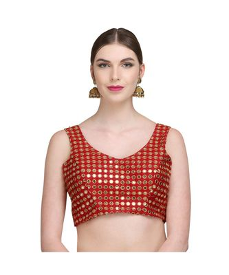 Maroon Embroidered Brocade Readymade Blouse
