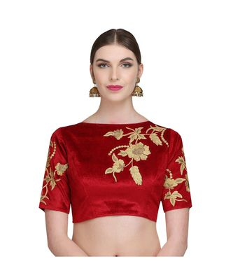 Red Embroidered Velvet Readymade Blouse