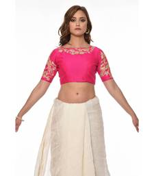 Pink  Embroidered Dupion Readymade Blouse