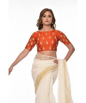 Orange Embroidered Dupion Readymade Blouse
