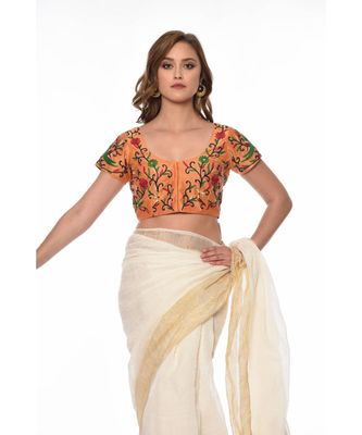 Beige Embroidered Dupion Readymade Blouse